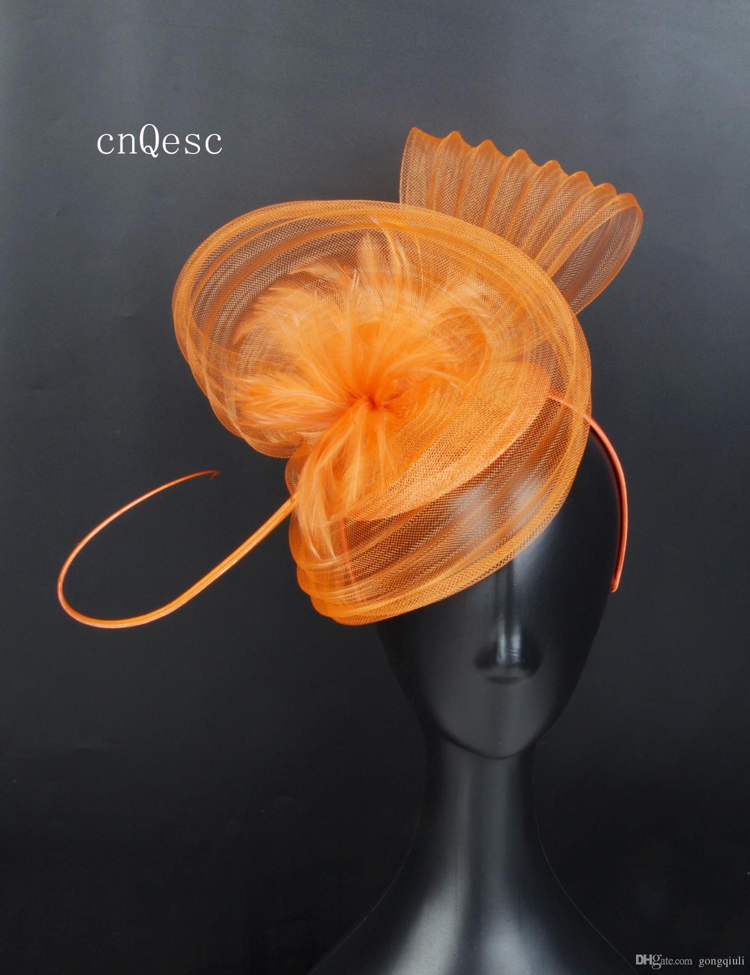 2019 оранжевый Крин чародей перо свадебные шляпы чародей sinamay основания для выпускного вечера мать Дэй гонки, Кентукки Дерби
