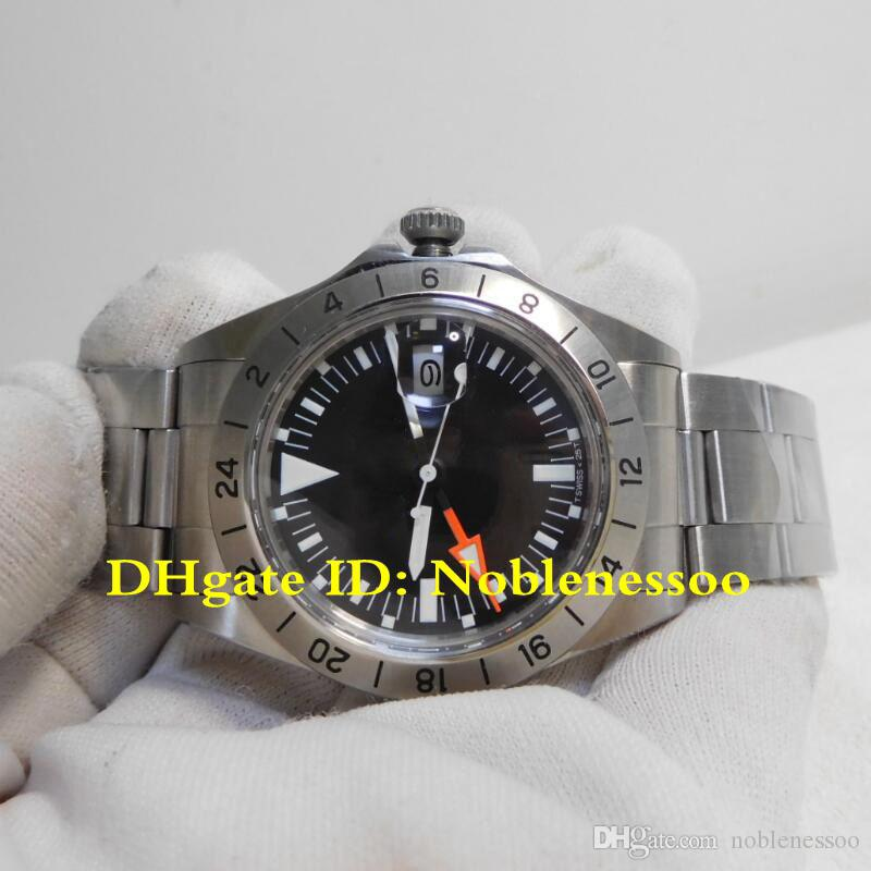Heiße Männer Vintage Black Dial Explorer II 1655 GMT 70's Uhr McQueen 1979 Ausgabe R-GMT BP Fabrik 2813 Bewegung Mens Automatische Uhren