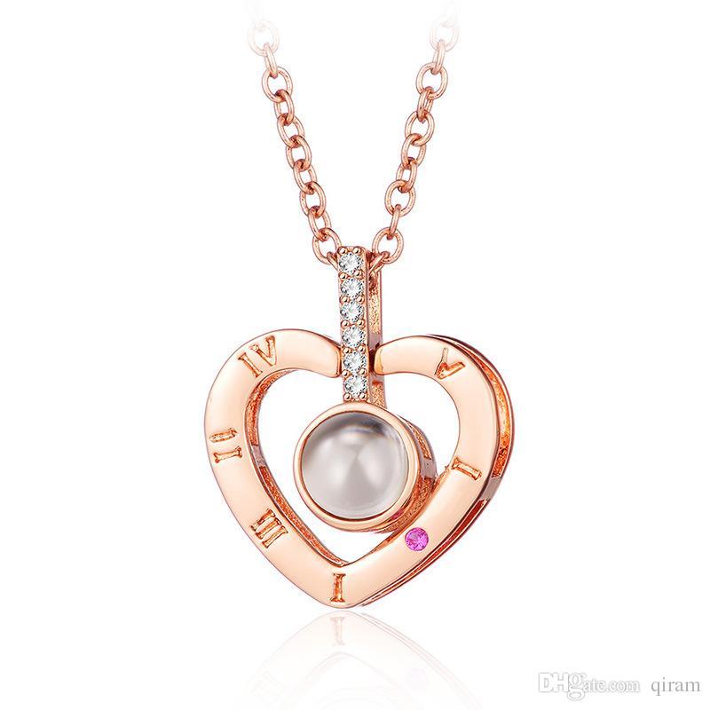 2019 neue Ankunfts-Rose Goldsilver 100 Sprachen Ich liebe dich Projektions-Anhänger-Halskette Romantische Liebe Gedächtnis Hochzeit Halskette Geschenk