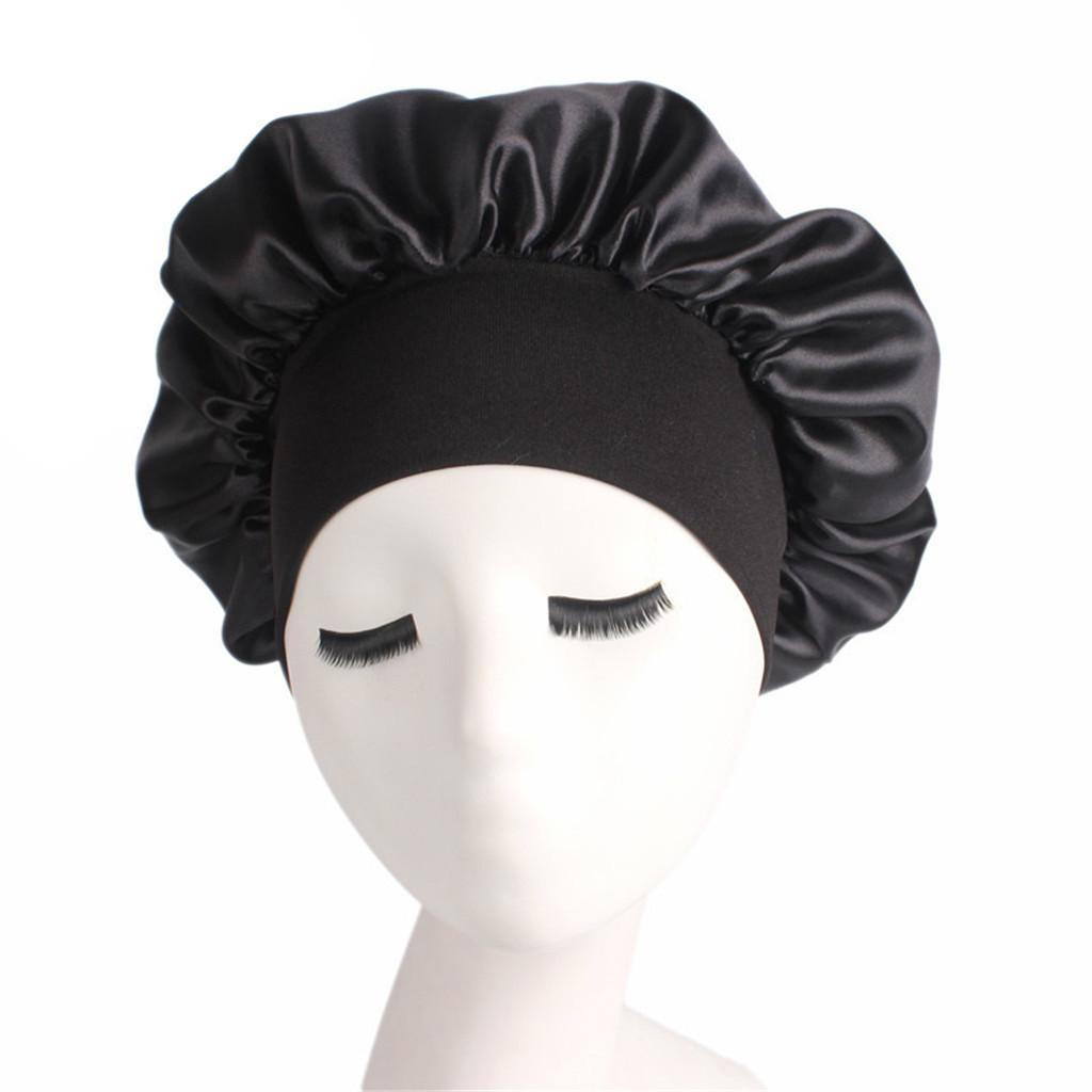 Cheveux longs Soins Femmes Mode satin Bonnet Cap nuit de sommeil Chapeau soie Cap tête Wrap sommeil Chapeau Casquettes de perte de cheveux Accessoires