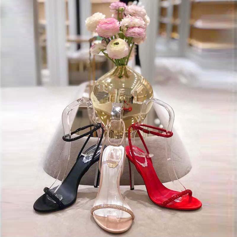 2020 alto 9 centimetri tallone d'estate donne dei sandali Rene Caovilla CRYSTAL karung oro rosa Snakelike gemellaggio strass tacchi spessi