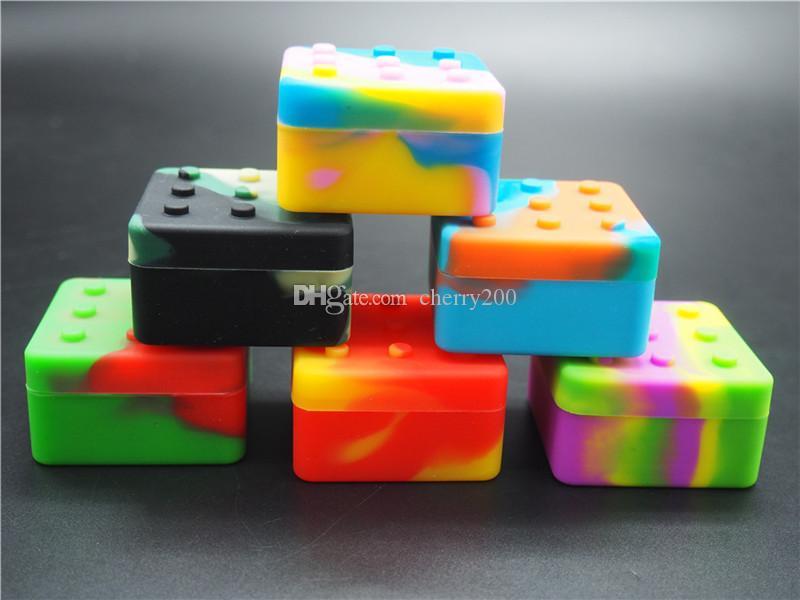 100pcs lot 26ml 4 + 1 conteneurs assortis couleur de silicone de couleur pour DAB en forme ronde en silicone conteneurs de silicone de silicone de silicone bocaux dab