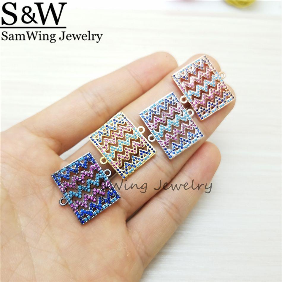 10 adet Toptan en kaliteli moda dalga dikdörtgen charm renkli taş charm takı için konnektörler