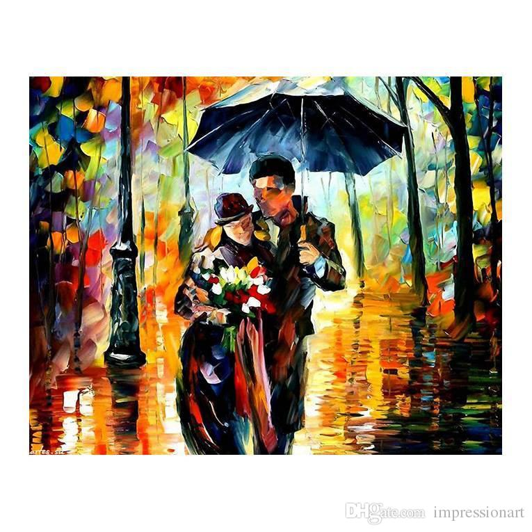"""Romantic walking in the rain forest european-style hand-painted oil painting murals restaurant sitting room sofa decorative painting 20""""x24"""""""