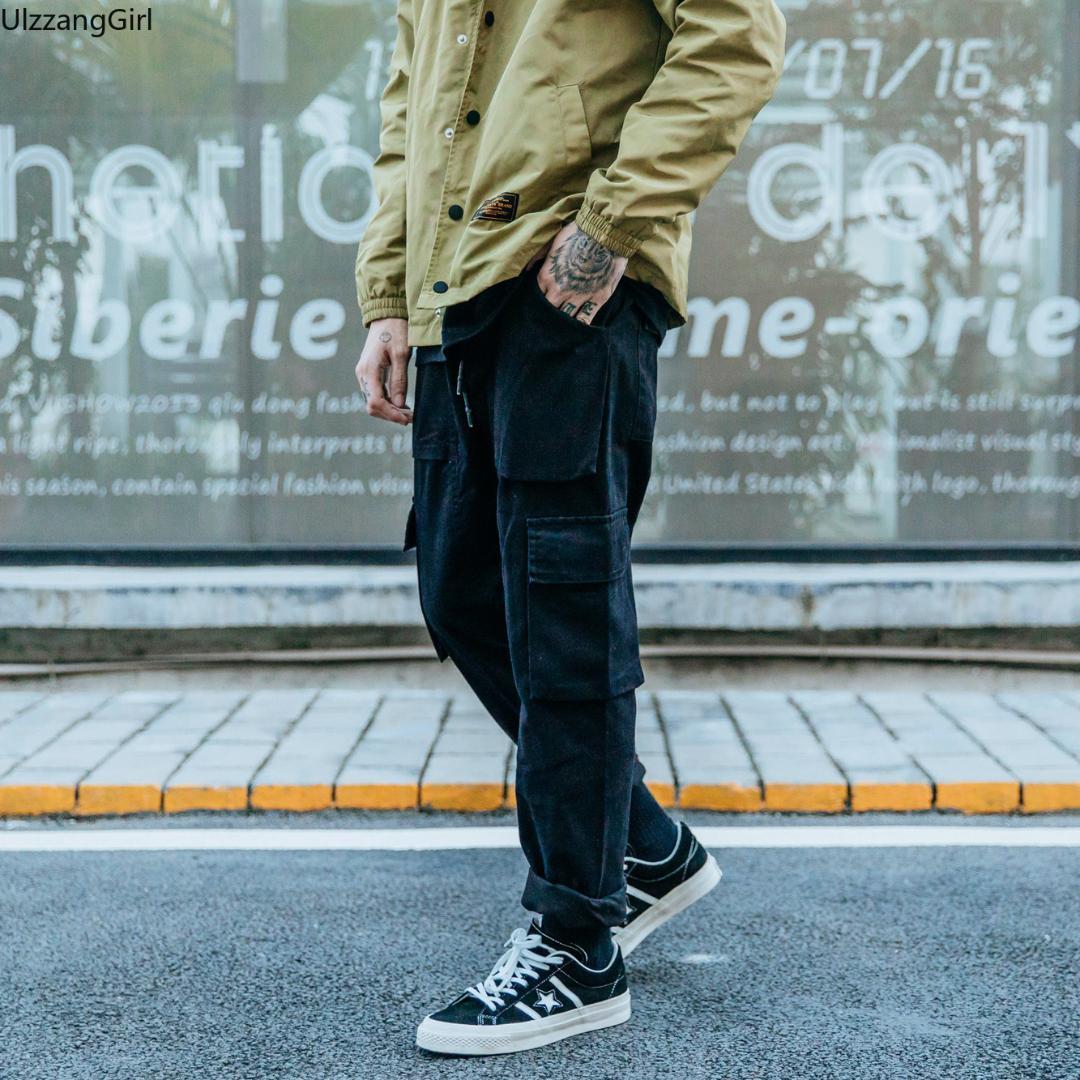 Streetwear Plus La Taille Camo Noir Taille Élastique Jogger Cargo Pocket Pantalon Hommes Casual Pantalon Japonais De Mode Bas Hip Hop Track