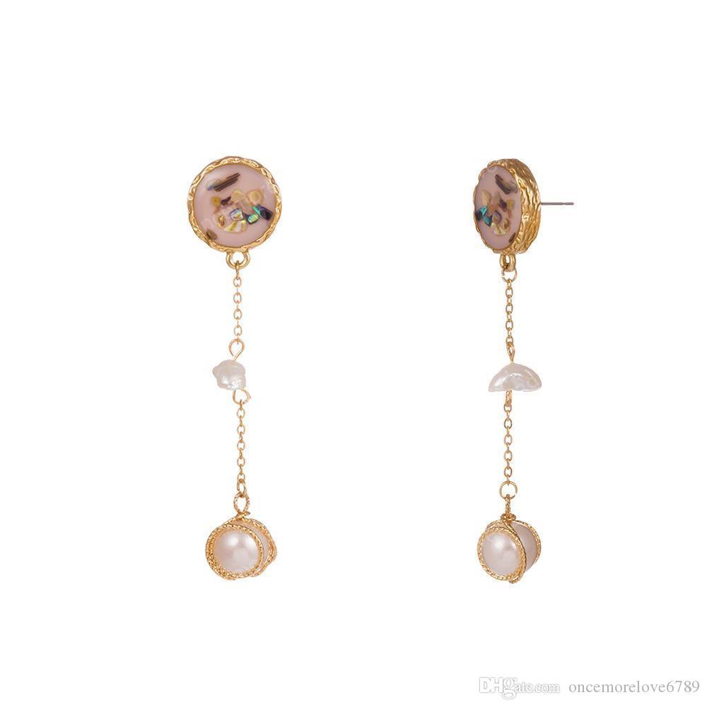 Красочные Shell серьги Природные перлы пресной воды бирюзовый камень ушной крючок Золотой сплав Длинные кисточкой капельного Масляные жемчужные серьги ломтика женщин