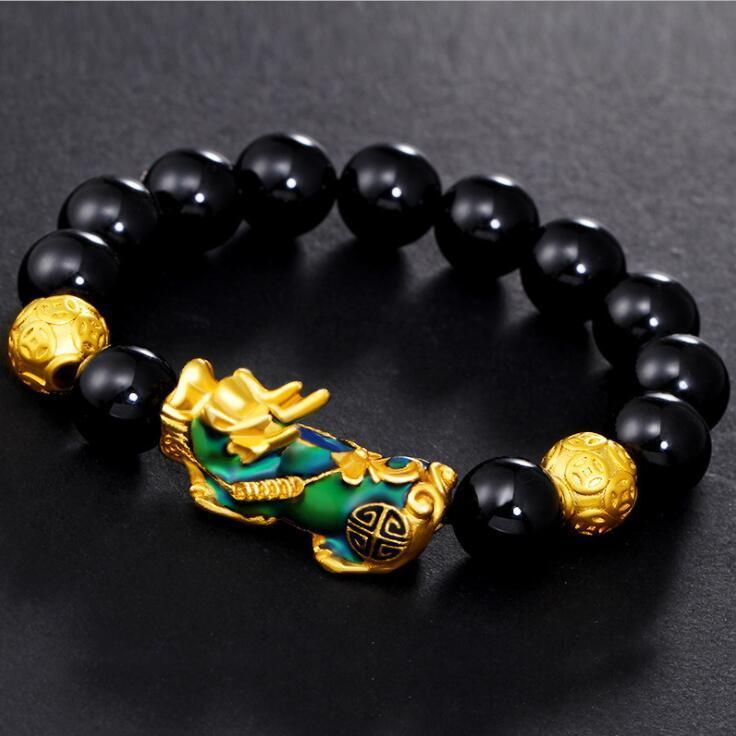 Huilin arena de la moda de joyería de oro Pixiu de ante el cambio brazalete de modelos de color pulsera de cuentas de obsidiana chapado en oro para los hombres y las mujeres