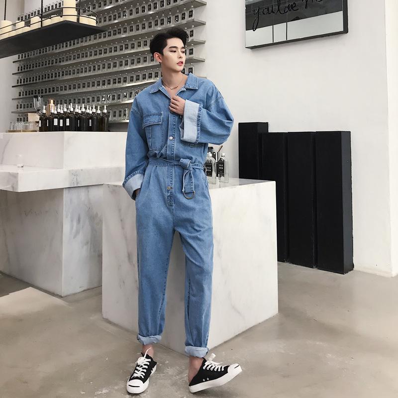 El traje del mono flojo ocasional de los pantalones vaqueros Traje cadera hombros moda japonesa tendencia de la solapa de gran caída de la manga del dril de algodón del mono de los hombres de Hip Azul
