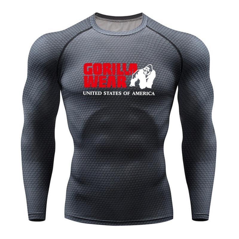Impresso chumbo Moda de Nova 3D T-shirts Homens Compression shirt longo da luva T térmica shirt dos homens de Fitness Musculação Skin Tight Tops Quick Dry