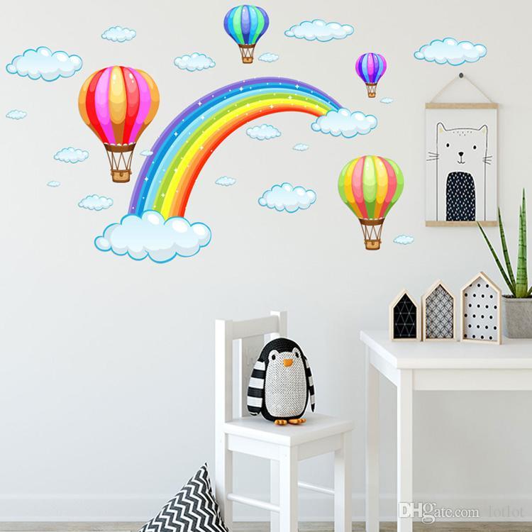 만화 무지개 구름 뜨거운 공기 풍선 벽 스티커 아이 방 장식 벽화 예술 데칼 홈 장식 스티커 벽지