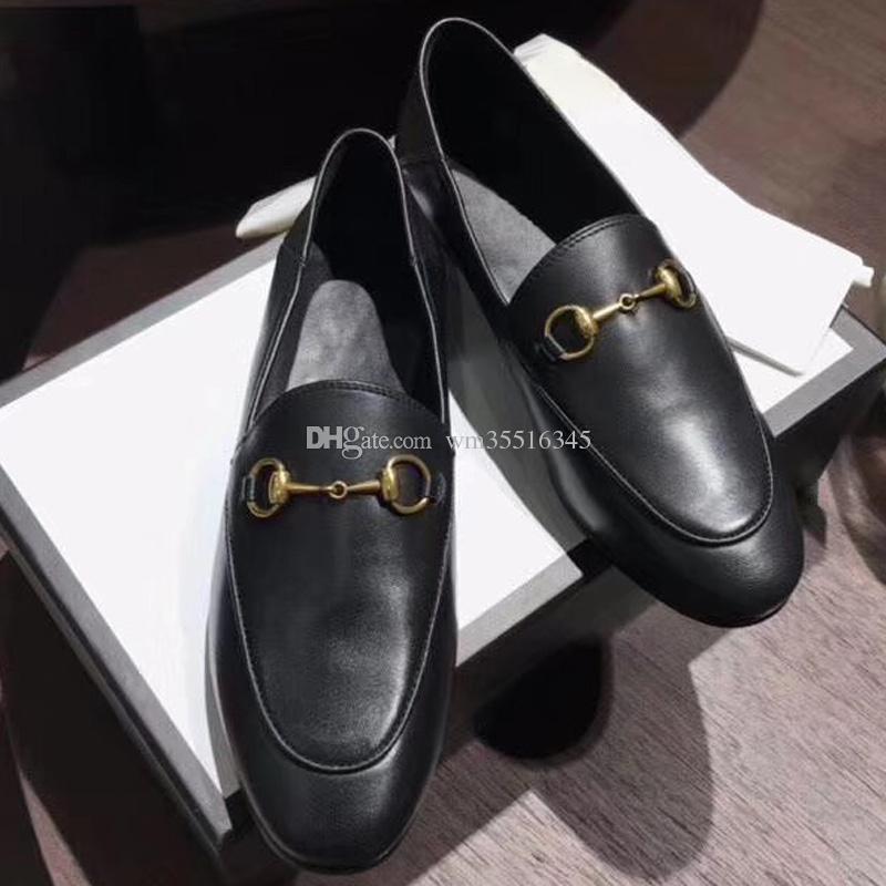 Designer de sola plana sapatos casuais de couro fivela de Metal Senhoras sapatos de couro mulheres Atropelar sapatos preguiçosos size35-41