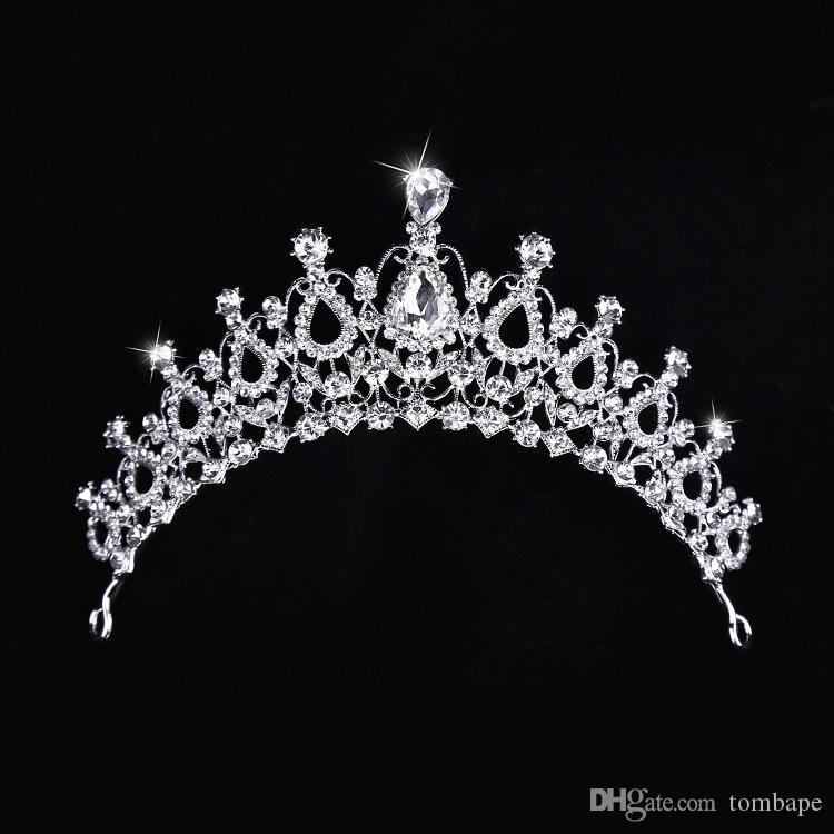 새로운 한국어 물 드릴 웨딩 왕관 인기 판매 신부 왕관 웨딩 드레스 액세서리 합금 헤어 밴드