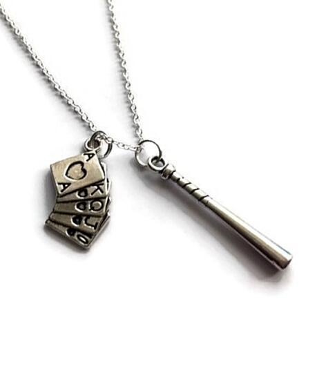 Vintage Silver Suicide Squad Inspired Necklace Designer Gothic Baseball Bat Playing Cards Necklace Pendant for Women Jewelry Friendship Gift