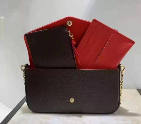 New'in 3adet moda altın zincir pochette FELICIE çanta zincir üç parçalı yüksek kaliteli cüzdan vekilharç çanta bayan tüm maç basit omuz çanta