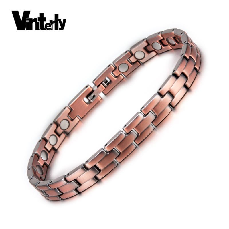 Vinterly cobre pulseras magnéticas para la cadena de hombres de las mujeres de la vendimia del imán de cobre puro pulseras de la salud de las mujeres Marca Femme