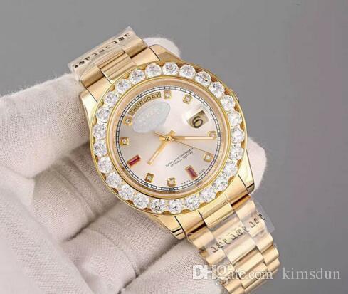 Lüks Süper N Başkan Günü Tarihi 18 k Altın Erkekler İzle ile Elmas Bezel elmas Saat İşaretleyiciler wristwatc saatı Dial ve saatler