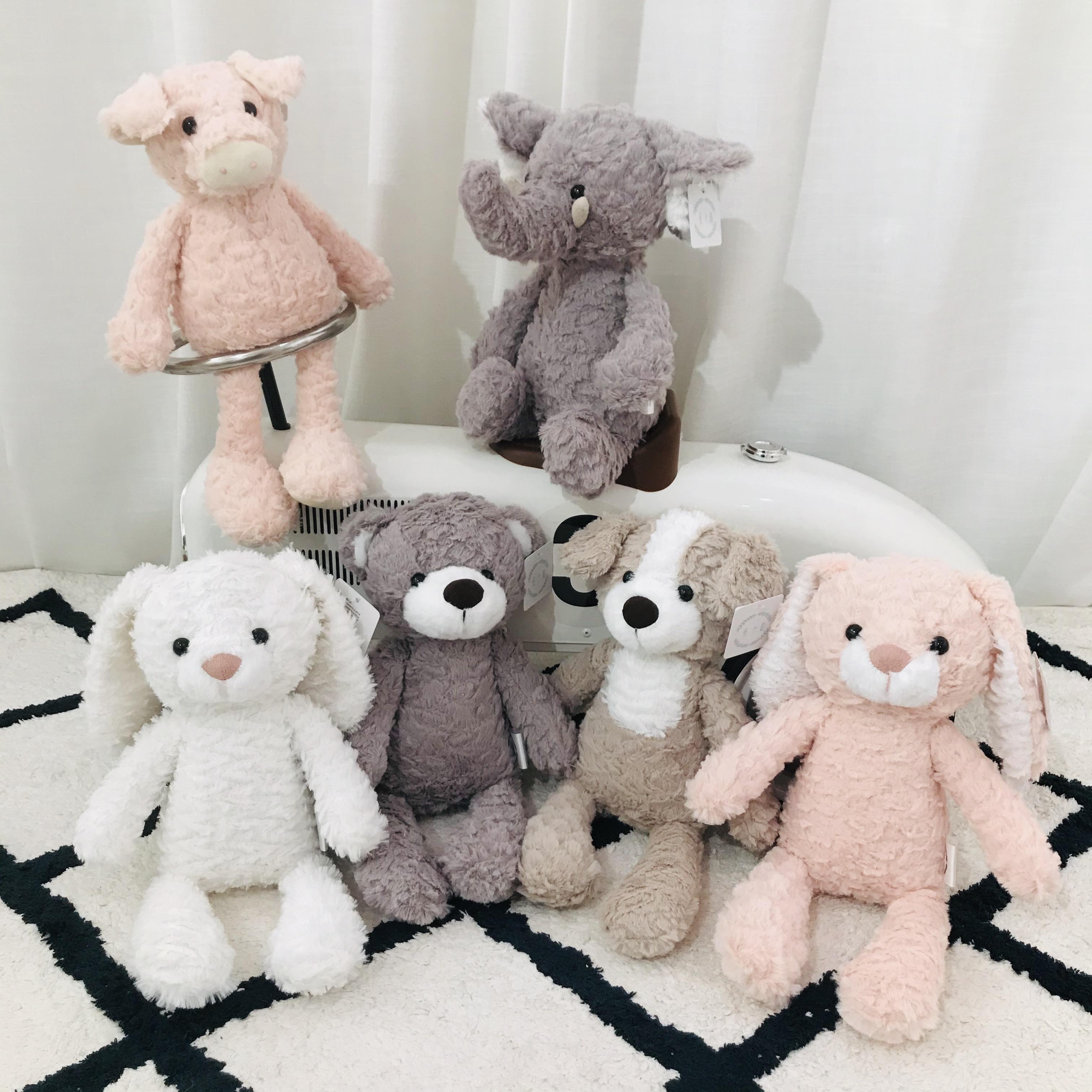 محشوة Bemenset لطيف دمية لعبة أطفال النوم راحة دمية أرنب أبيض الفيل دمية كلب أفخم الحيوان دمية فتاة هدية عيد ميلاد