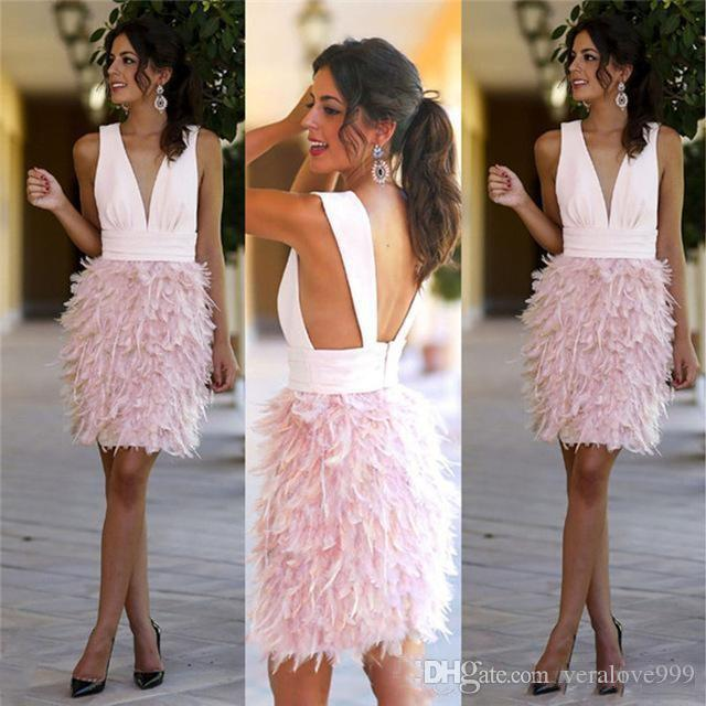 Pink Feather Short Party Dresses Sexy Deep V Neck Knee Length Evening Gowns Cocktail Formal Party Prom Dress Custom Made