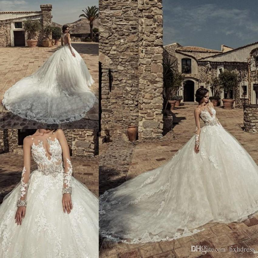 Ball Gown Long Sleeve Beaded Crystal Applique Watteau: Arab Dubai Lace Ball Gown Wedding Dresses Lace Applique
