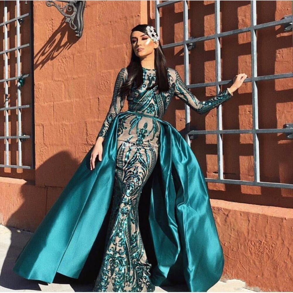2020 빛나는 이슬람 이브닝 드레스 분리 기차 스팽글 두바이 긴팔 티셔츠 인어 댄스 파티 드레스 아프리카 당사국과 Vestido 가운 데 야회