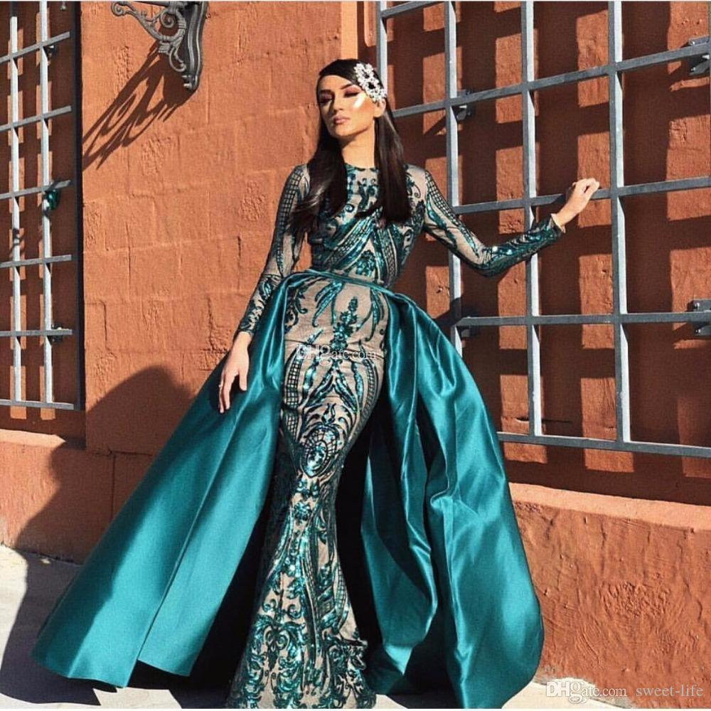 2020 Shiny Muslim Evening Dresses with Detachable Train Sequined Dubai Long Sleeves Mermaid Prom Dress African Party Vestido robes de soirée