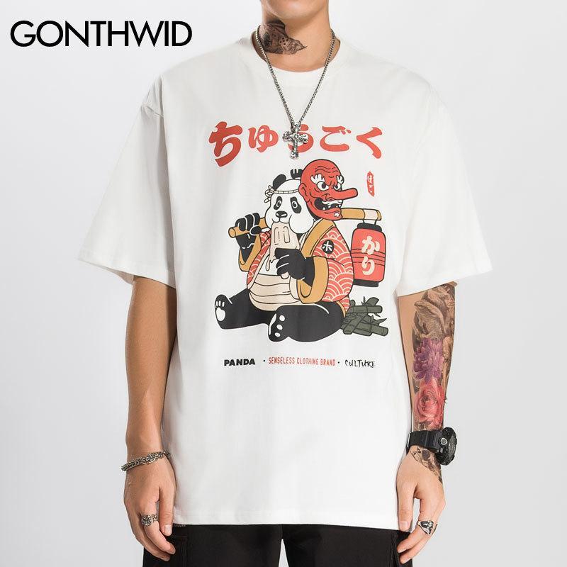 GONTHWID Harajuku Funny Panda Print T-Shirts Men 2020 Casual Short Sleeve Tees Streetwear Hip Hop Fashion Summer Tshirts Tops T200516