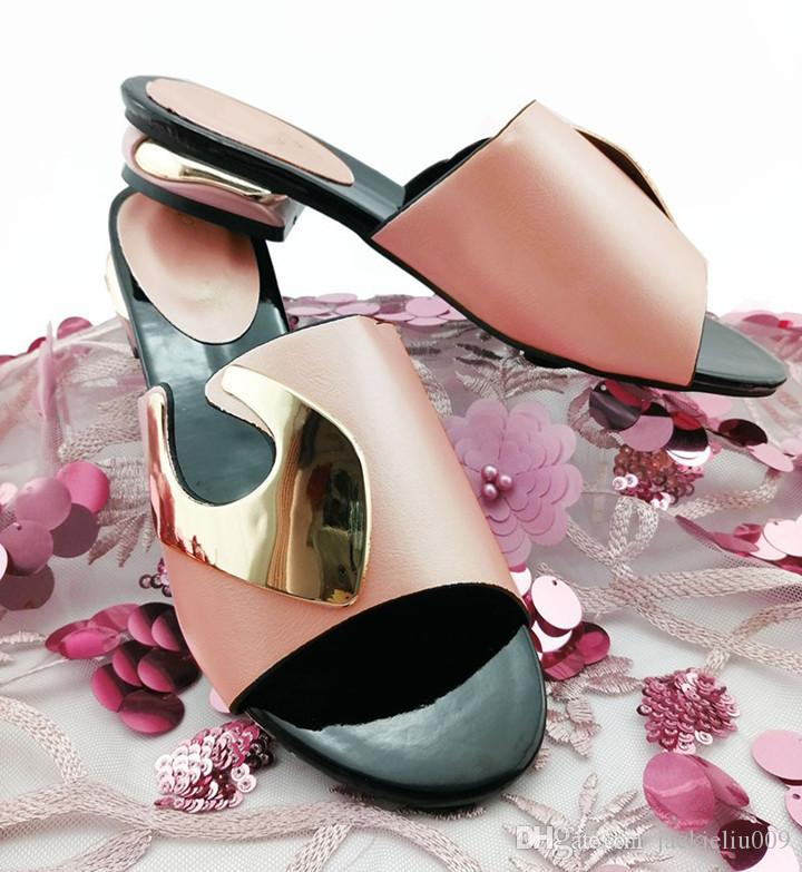 Venda quente mulheres rosa sapatos com decoração de metal sapatas das senhoras africanas para vestir QS1901, 3CM calcanhar