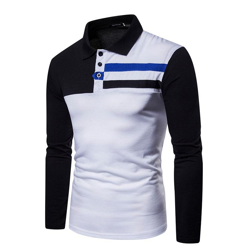 Simple Turn-down Collar Slim Fit Striped Patchwork Men's T-shirts Casual Tshirt Long Sleeve T Shirt Mans