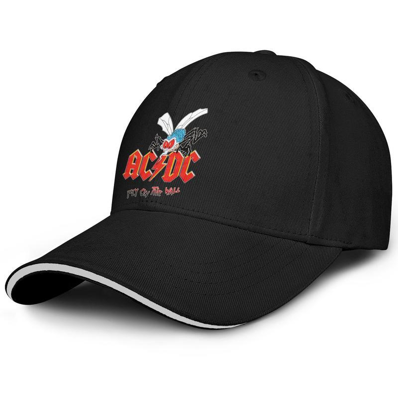 ACDC ذبابة على الحائط البعوض سائق شاحنة قابل للتعديل ساندويتش موضة القبعة مخصص البيسبول كاب فريد AC DC موسيقى الروك مرة أخرى في ميلان أسود