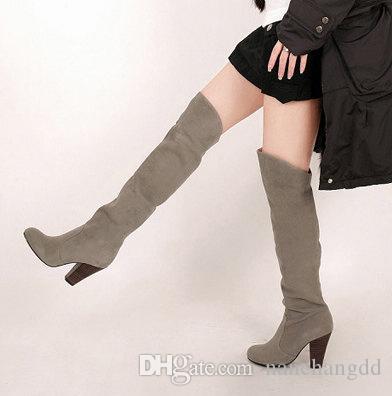 зима Ботинес над коленом военных Botas колено бедра высокие сапоги женщин Mujer обувь