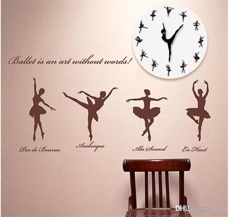 الباليه الرقص فتاة ساعة الحائط DIY ساعات الاكريليك مرآة غرفة المعيشة الرئيسية تزيين لوازم الإبداعية بسيط أسود أبيض 3leC1