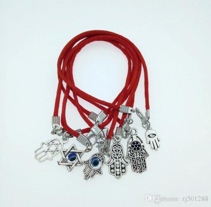 Good Luck Hamsa Hand Kabbalah Red String Bracelet For Women Fashion Jewelry Vintage Silver Charms Bangle Party Gift Friendship 100Pcs
