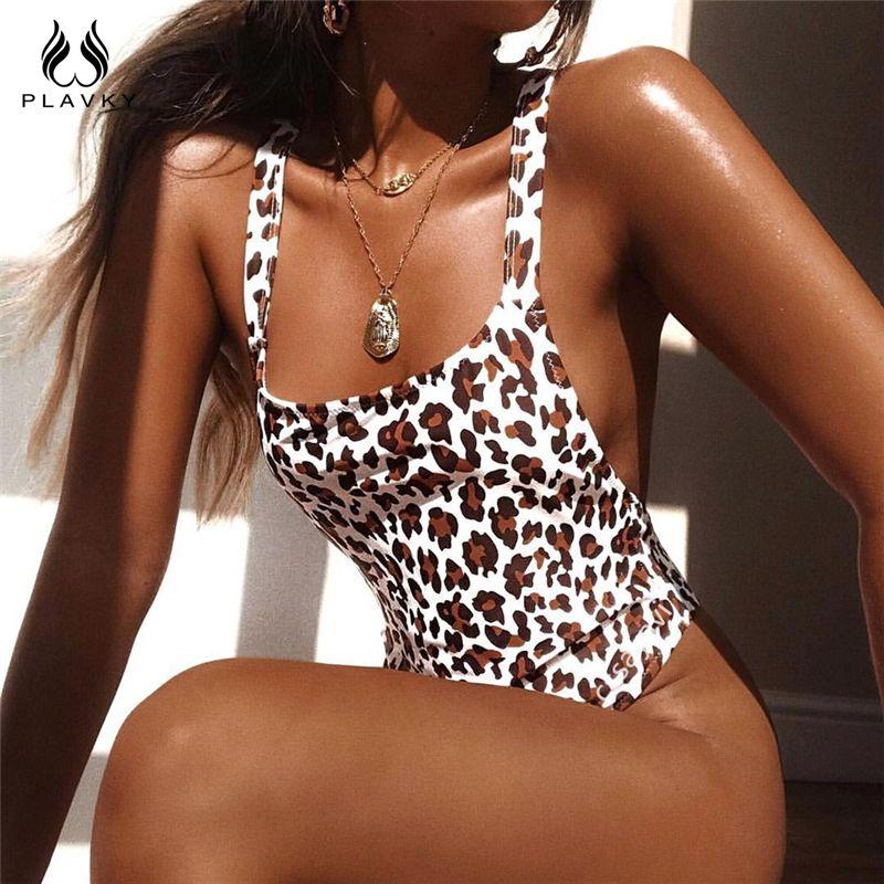 Sexy Leopard Backless Trikini Thong Badeanzug Cut mit hohen Taille Monokini Weibliche brasilianische Bademode Frauen Badeanzug Y200613
