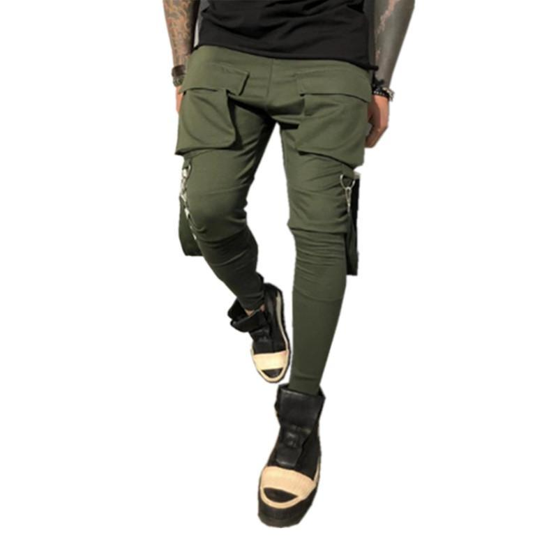 Hot Side Pockets Pencil Pants Mens Hip Hop Patchwork Cargo Ripped Sweatpants Joggers Trousers Male Fashion Full Length Pants Size S-3XL