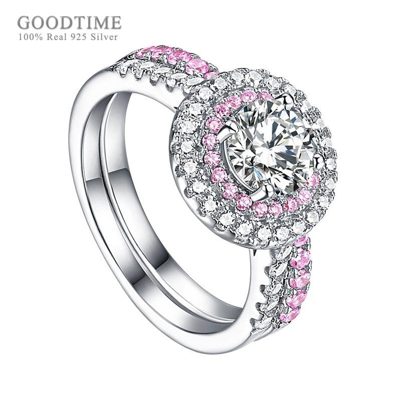 فاخر الدائري للنساء 925 فضة الزركون العروس خاتم الزفاف حجر الراين خطوبة مجوهرات اكسسوارات للحزب فتاة