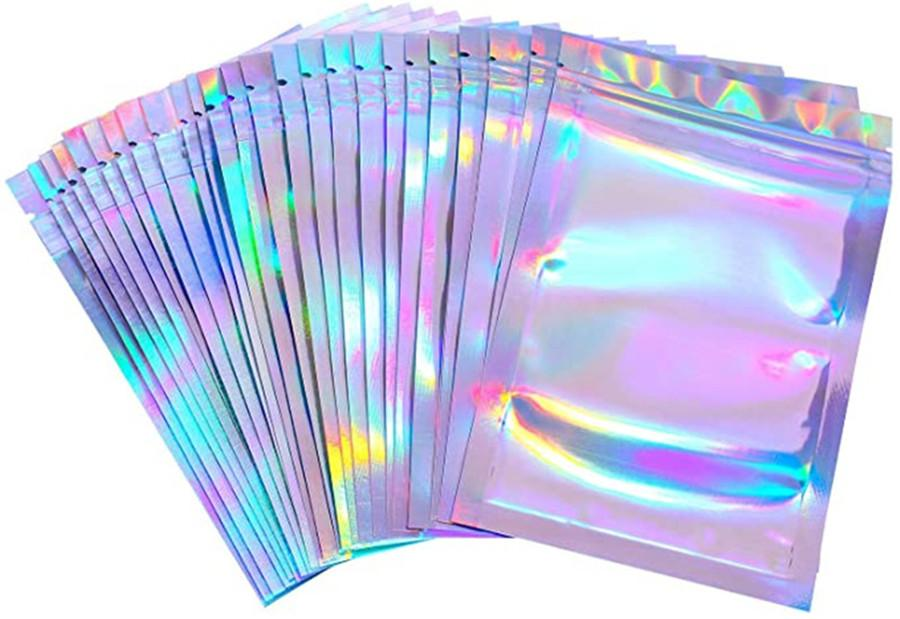 100 Piezas resellable olor bolsas resistentes a la bolsa de la lámina plana de color de láser de empaquetado Bolsa de Favor de partido de Alimentos de almacenamiento holográfico de color