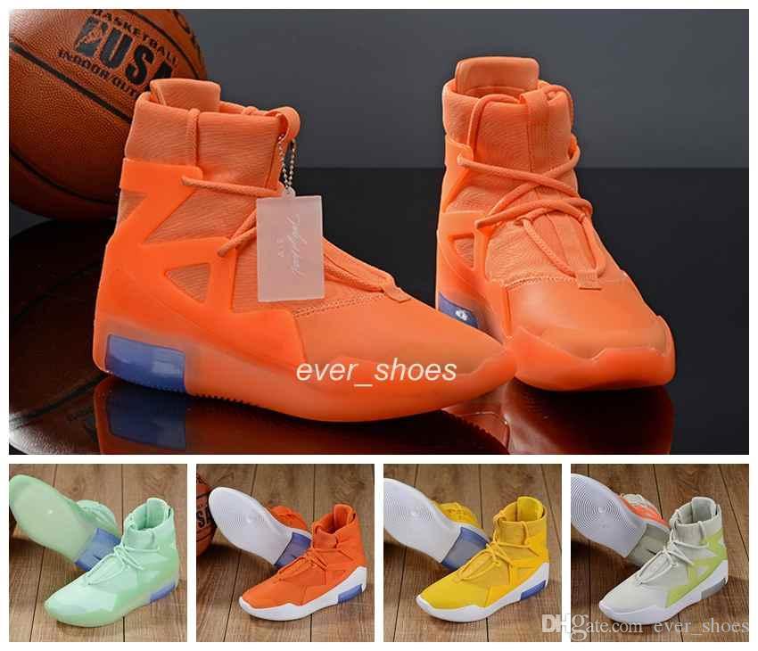 New Air Fear of God 1 Мужские кожаные баскетбольные кроссовки Модные сапоги Оранжево-желтый Увеличить Повседневные кроссовки FOG Chaussures 7-12