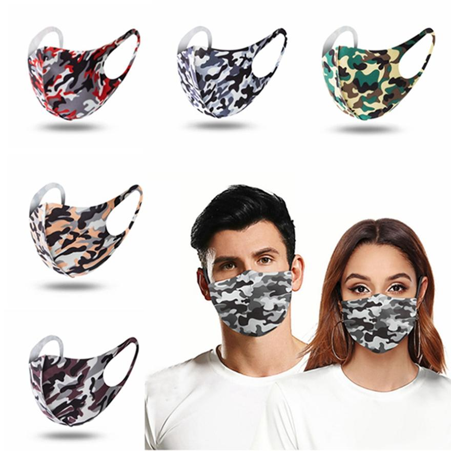 Moda Camouflage Mask Fina Seção respirável Dustproof lavável rosto reutilizável Homens Mulheres Ice Silk Cotton Fast Shipping HHA1310