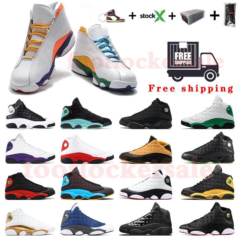 شحن مجاني ساخن Jumpman 13 كرة السلة للرجال أحذية 13S ثوب اسود الجزيرة الخضراء المحكمة ولدت الأرجواني أحذية مصمم كارميلو انطوني مربع مع