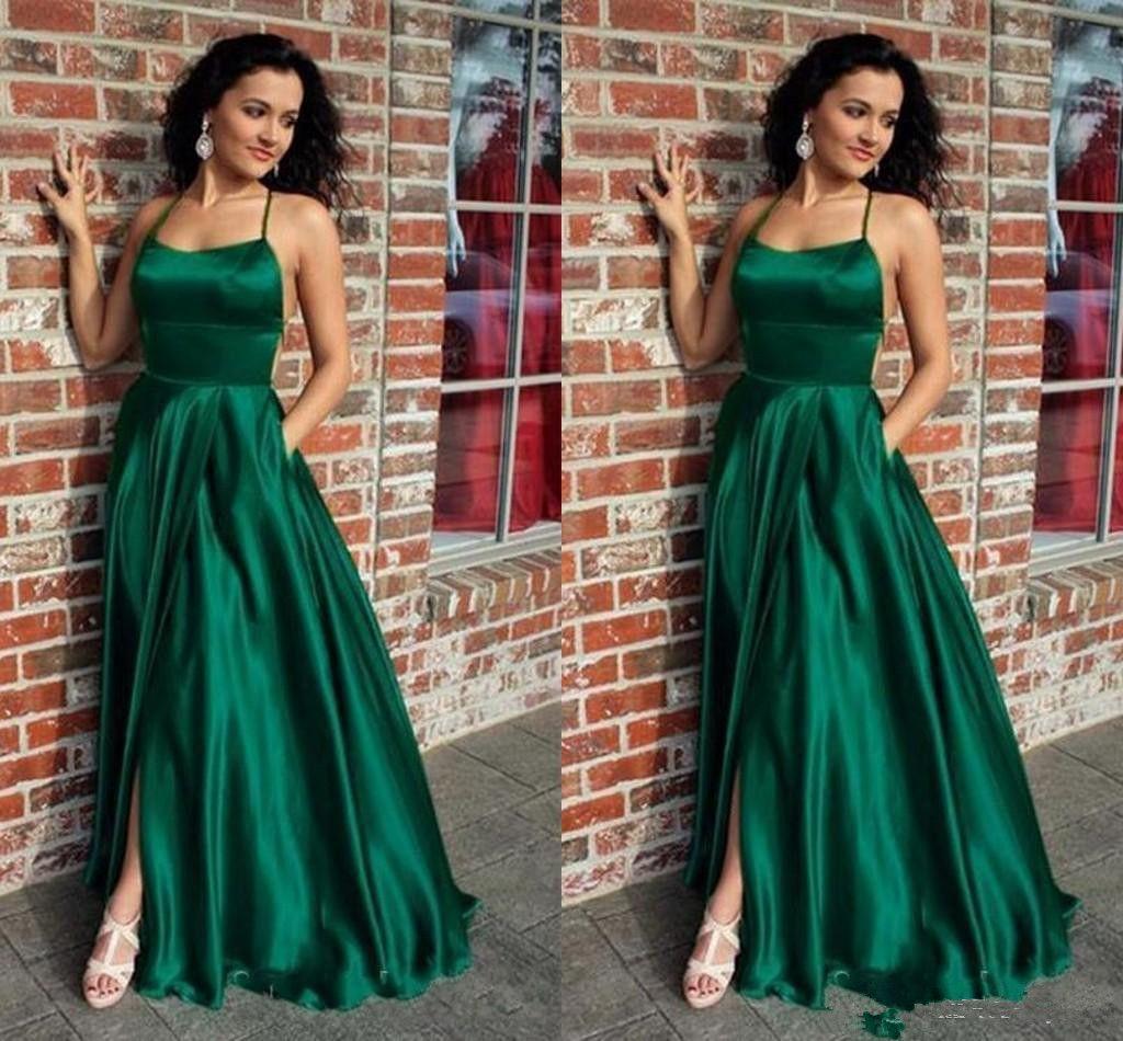 Abiti Da Cerimonia Verde Smeraldo.Acquista Abiti Da Sera Semplici Verde Smeraldo Halter Sexy Back
