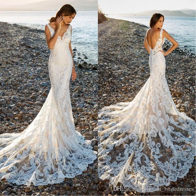 2019 Pizzo Mermaid Abiti da sposa scollo a V Backless Summer Beach Sweep treno Abiti da sposa da sposa abiti da sposa in pizzo boho