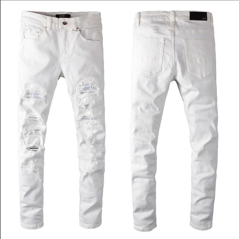2020 auto d'epoca classico maschile moda jeans strappati i jeans in forma moto sottili per maschi stilista hip hop degli uomini dei jeans di qualità% 126