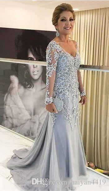 2020 New Arrival Mermaid Mother Of The Bride Dresses V Neck Long Sleeves Lace Appliques Beads Sweep Train Plus Size Party Evening Gowns