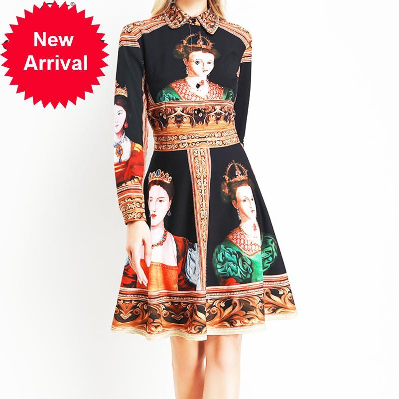 2020 manches longues printemps femmes robe de défilé de mode design d'été impression motif vintage Slim mini robe