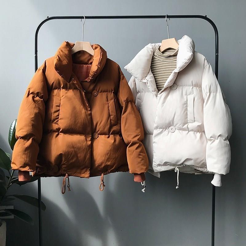 2019 Thicken Femmes Parkas Casual col roulé en vrac Vestes courtes en coton dames chaud coton rembourré manteau d'hiver Femme T191111