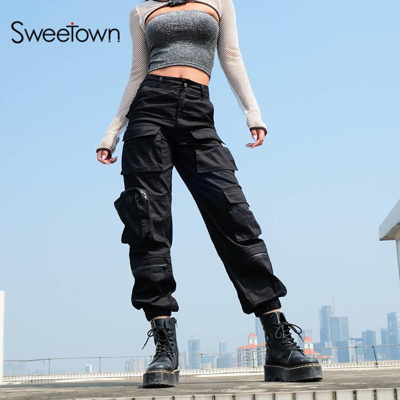 Sweetown Black Cargo Pants Women Fashion 2019 Pockets Patchwork Hippie Trousers Fake Zipper Woven High Waist Streetwear Pants T200104