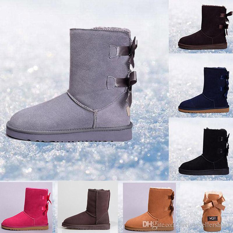 2020thick leather bow in the tube snow boots cotton shoes Free shipping new Australian snow boots