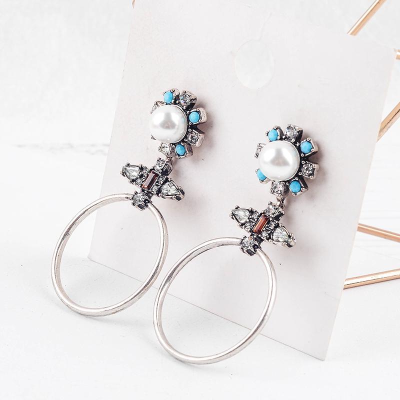 Заявление Капли смола акрилового Pearl Blue Crystal Урожай серьга для ювелирных изделий способа женщин серьги падения