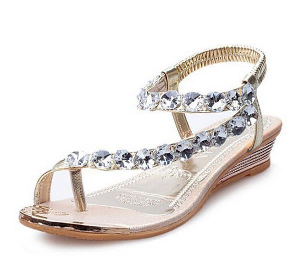 Hot Sale-er Sandals Bling Perles Plaftorm Wedges Chaussures Femme Golden Slid Slip-on Roman Flip Flops Taille 35-39 XWZ095
