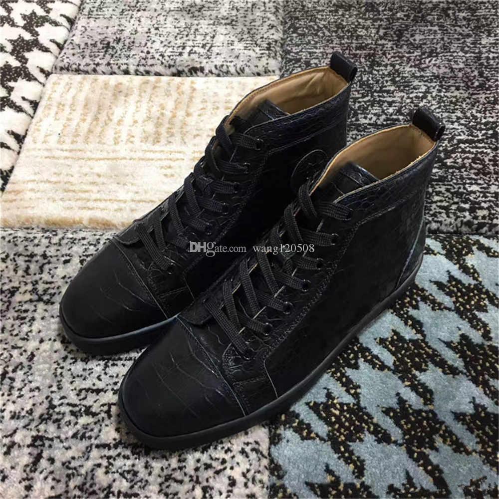 Erkekler Louisflat Sneakers Erkek Yok Dikenler Yüksek Top Eğitmenler Siyah, Beyaz İçin Marka Crack hakiki deri Kırmızı Alt Sneaker Tasarım Ayakkabılar
